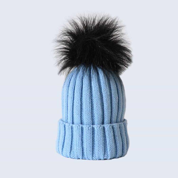 Sky Blue Hat with Black Faux Fur Pom Pom