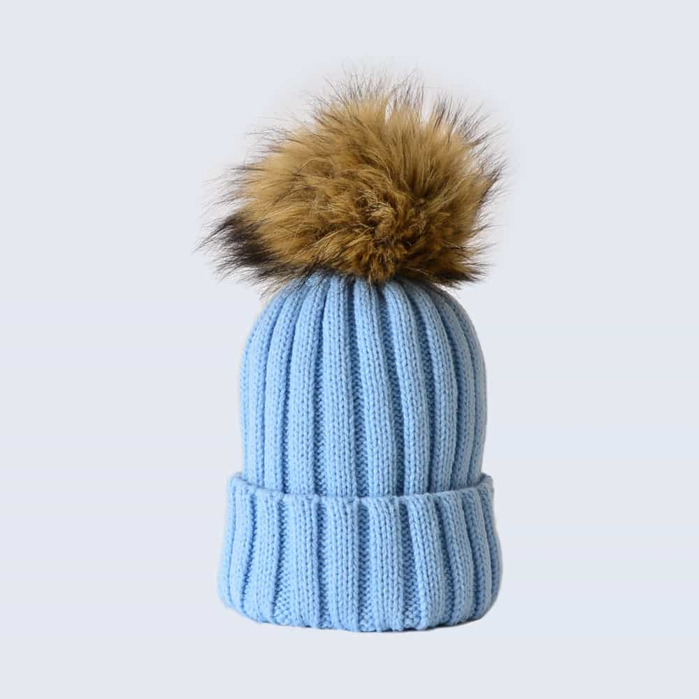 Sky Blue Hat with Brown Faux Fur Pom Pom