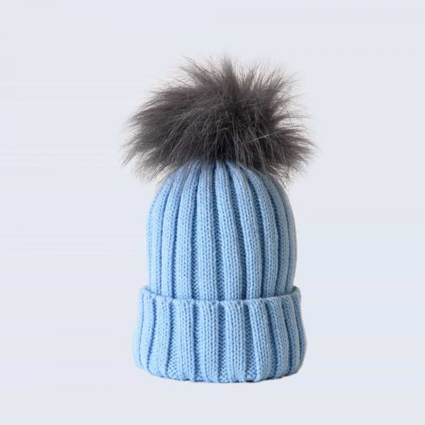 Sky Blue Hat with Grey Faux Fur Pom Pom