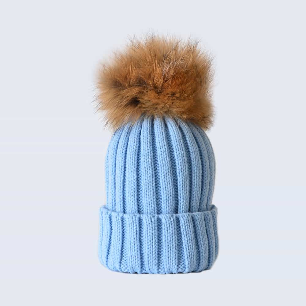 Sky Blue Hat with Brown Fur Pom Pom