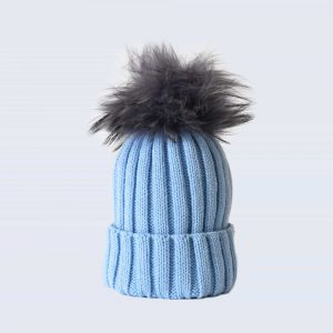 Sky Blue Hat with Grey Fur Pom Pom