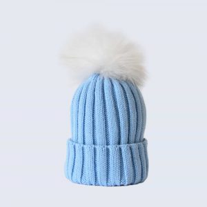 Sky Blue Hat with White Fur Pom Pom