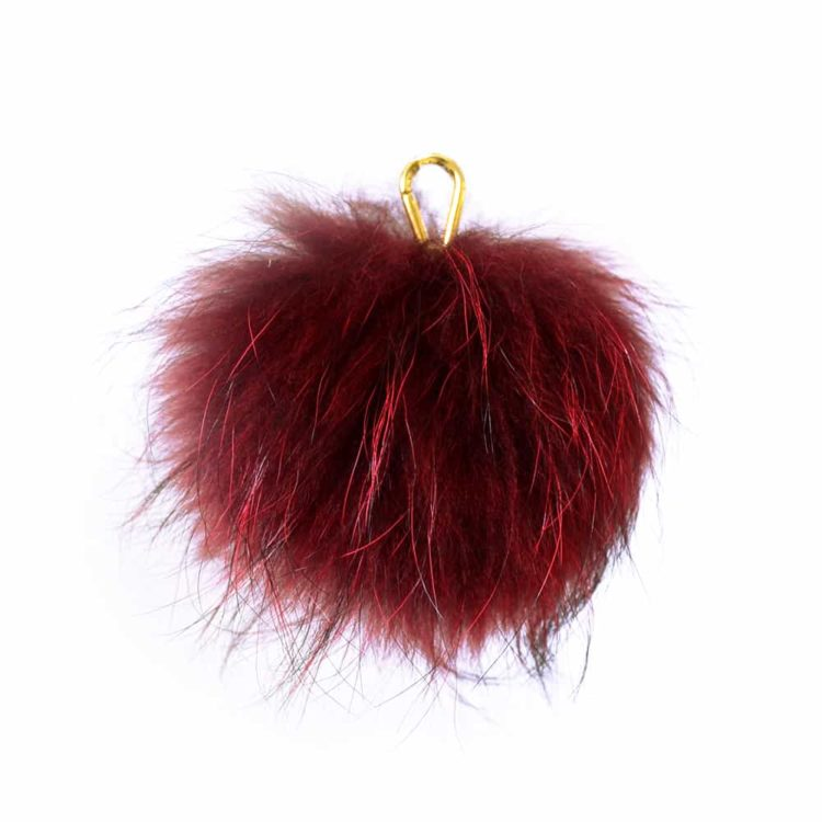 Burgundy Pom Pom Key Ring