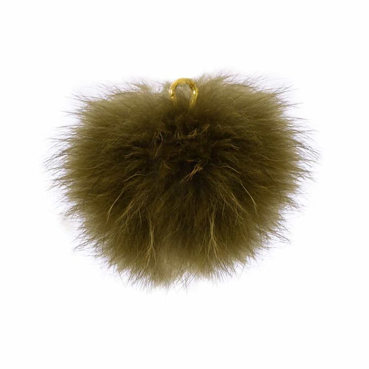 Khaki Green Pom Pom Key Ring