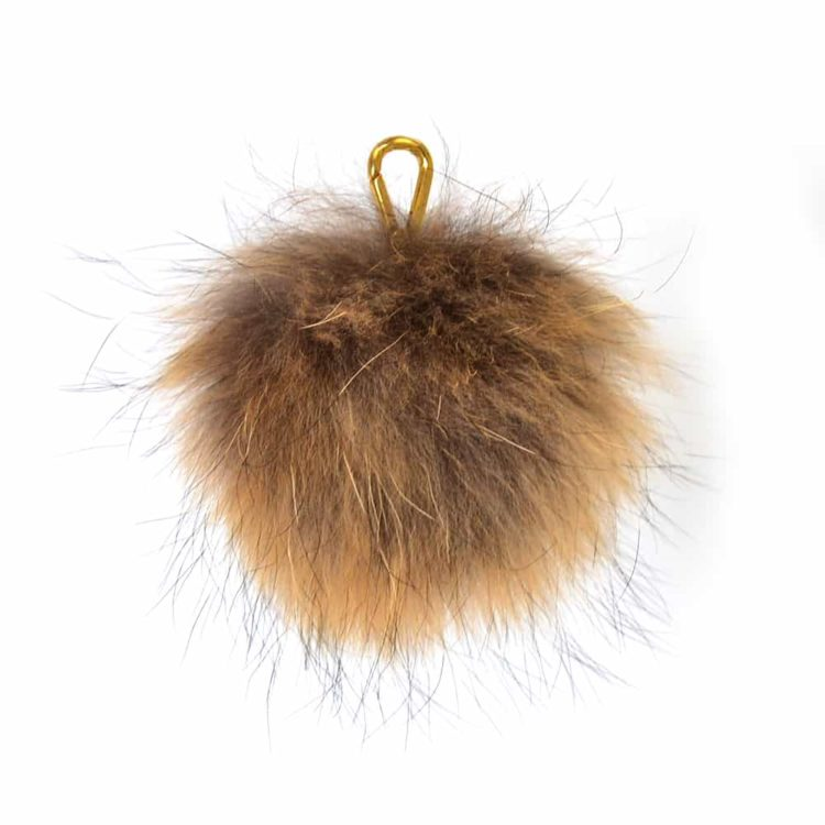 Brown Pom Pom Key Ring