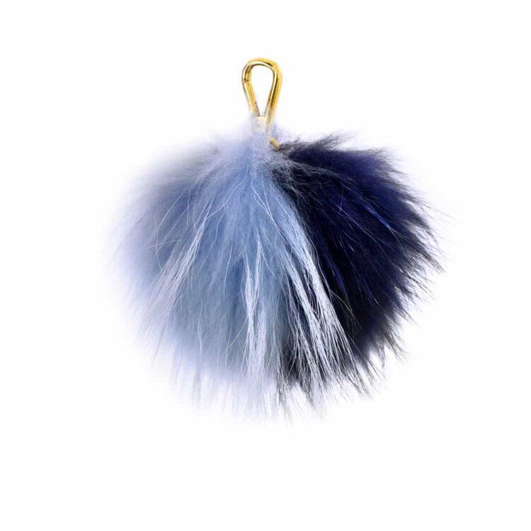 Two Tone Navy/Sky blue Pom Pom Key Ring