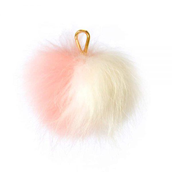 Two Tone Candy Pink/Ivory Pom Pom Key Ring