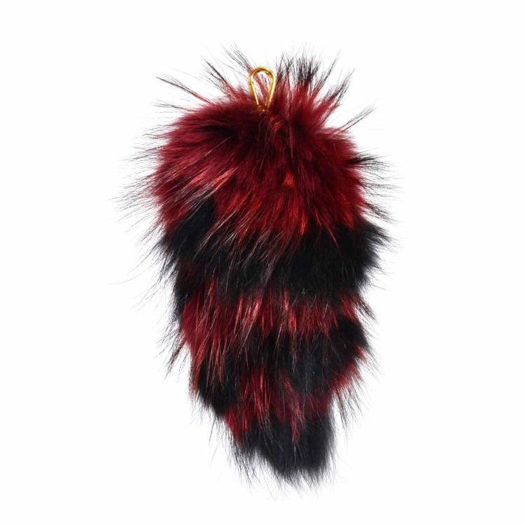Fur Striped Super Size Black/Burgundy Pom Pom Key Ring