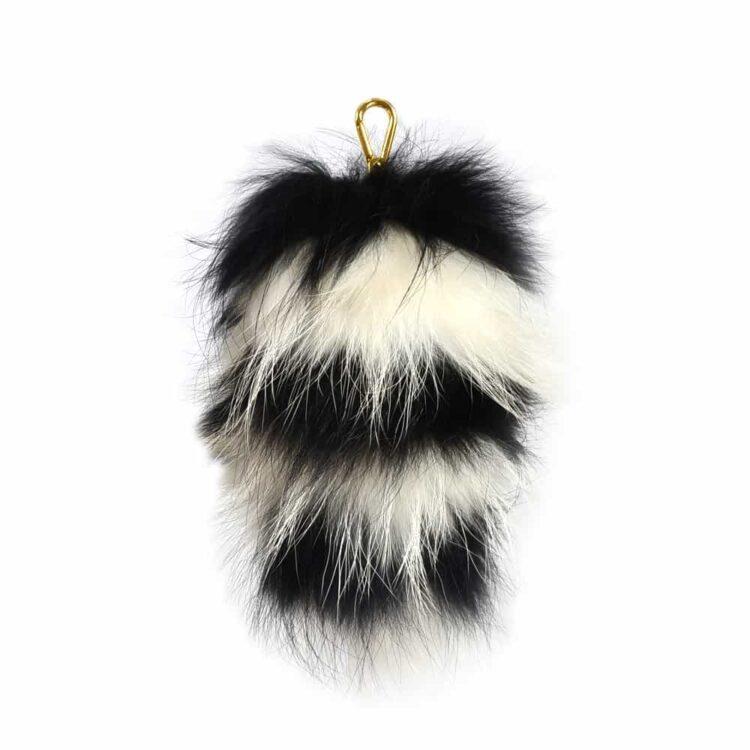 Fur Striped Super Size Black/Ivory Pom Pom Key Ring