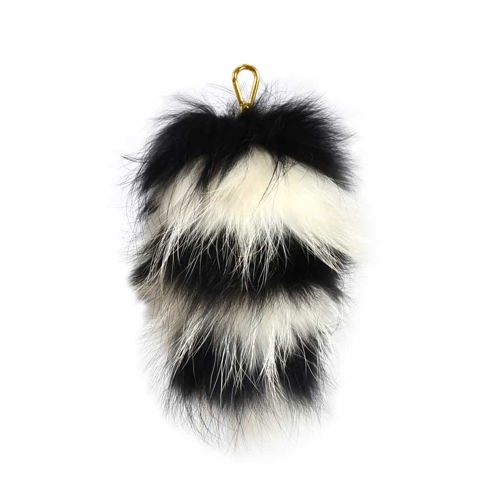 Fur Striped Super Size Black/Ivory Pom Pom Key Ring