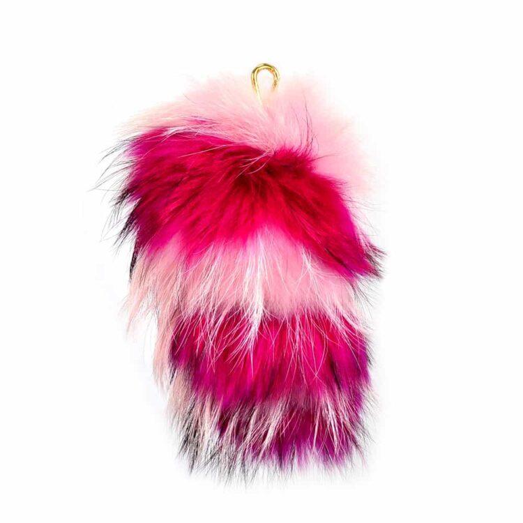 Fur Striped Super Size Candy Pink/Fuschia Pom Pom Key Ring