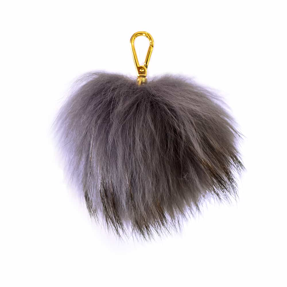 Grey Pom Pom Key Ring
