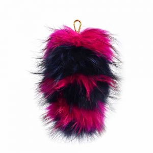 Fur Striped Super Size Navy/Fuschia Pom Pom Key Ring