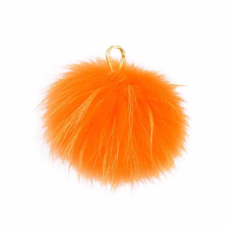 Neon Orange Pom Pom Key Ring