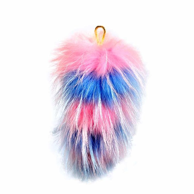 Fur Striped Super Size Candy Pink/Sky Blue Pom Pom Key Ring