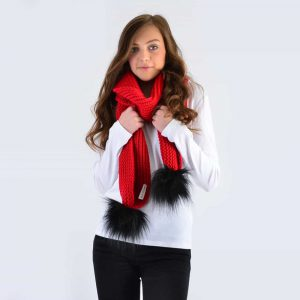 Scarlet Scarf with Black Faux Fur Pom Poms