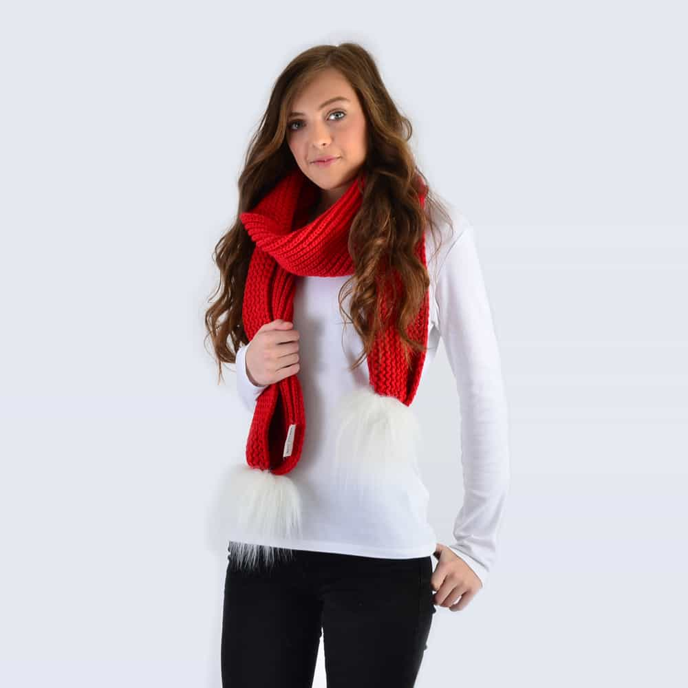 Scarlet Scarf with White Faux Fur Pom Poms