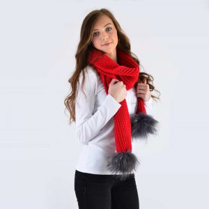 Scarlet Scarf with Grey Fur Pom Poms