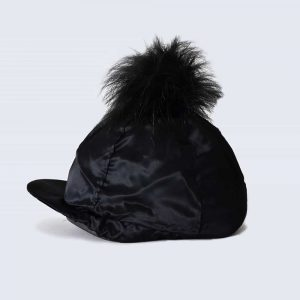 Black Hat Silk with Black Faux Fur Pom Pom