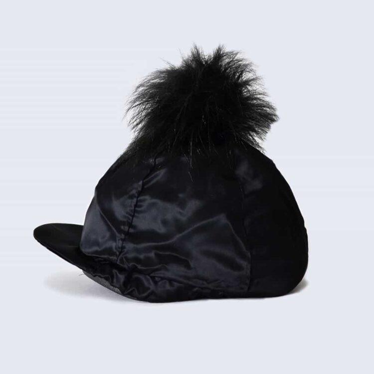 Black Hat Silk with Black Faux Fur Pom Pom