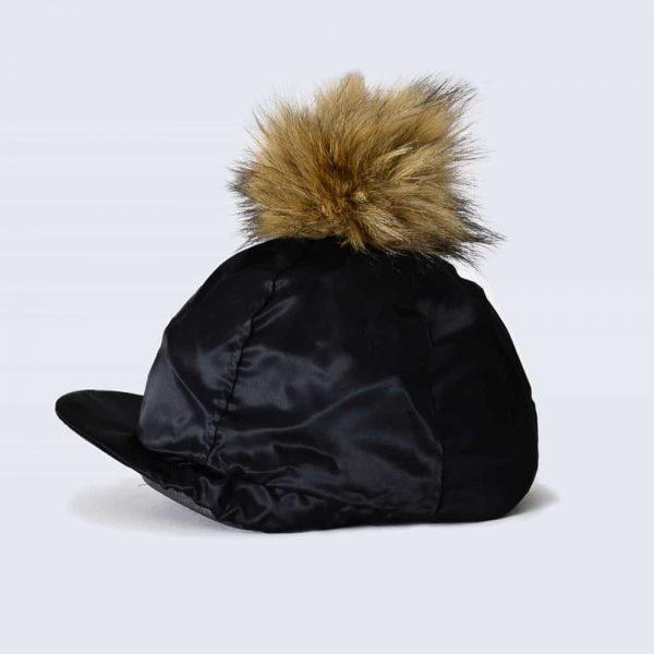 Black Hat Silk with Brown Faux Fur Pom Pom
