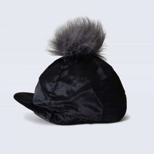 Black Hat Silk with Grey Faux Fur Pom Pom