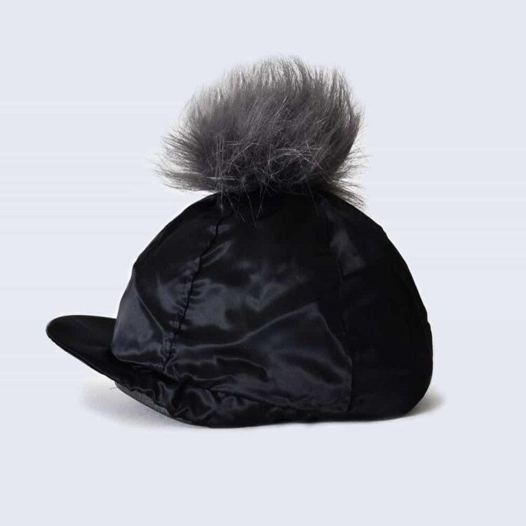 Black Hat Silk with Grey Faux Fur Pom Pom