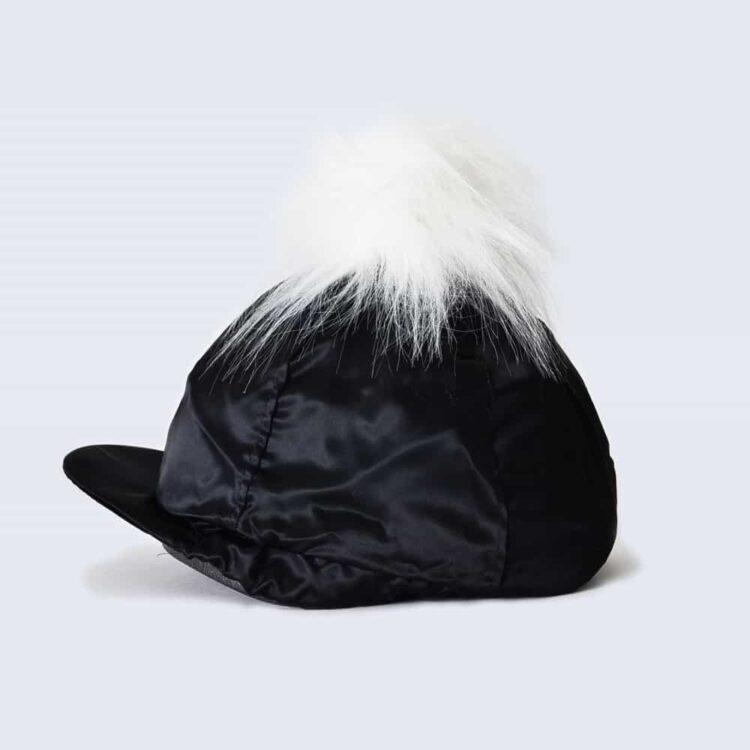Black Hat Silk with White Faux Fur Pom Pom