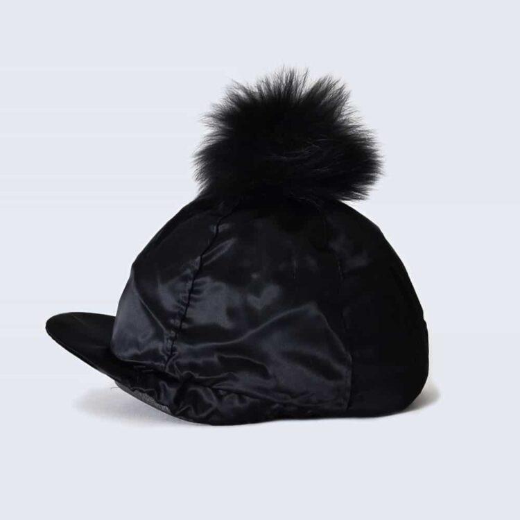 Black Hat Silk with Black Fur Pom Pom