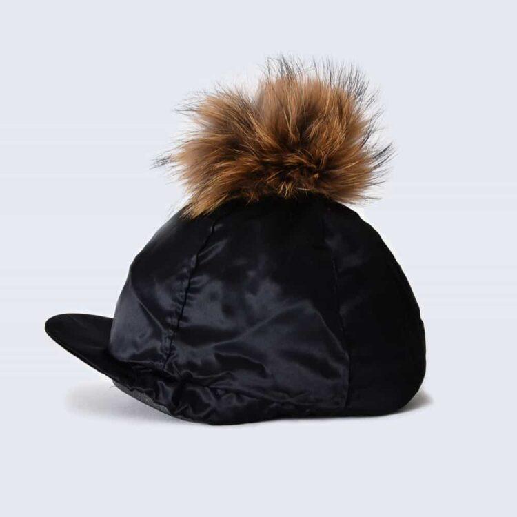 Black Hat Silk with Brown Fur Pom Pom