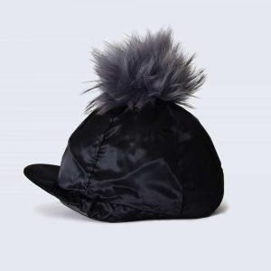 Black Hat Silk with Grey Fur Pom Pom