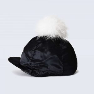 Black Hat Silk with White Fur Pom Pom
