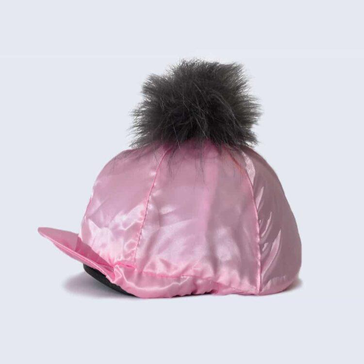 Candy Pink Hat Silk with Grey Faux Fur Pom Pom