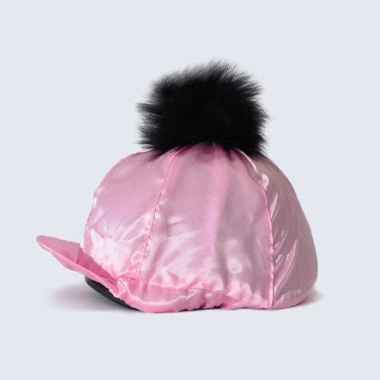 Candy Pink Hat Silk with Black Fur Pom Pom