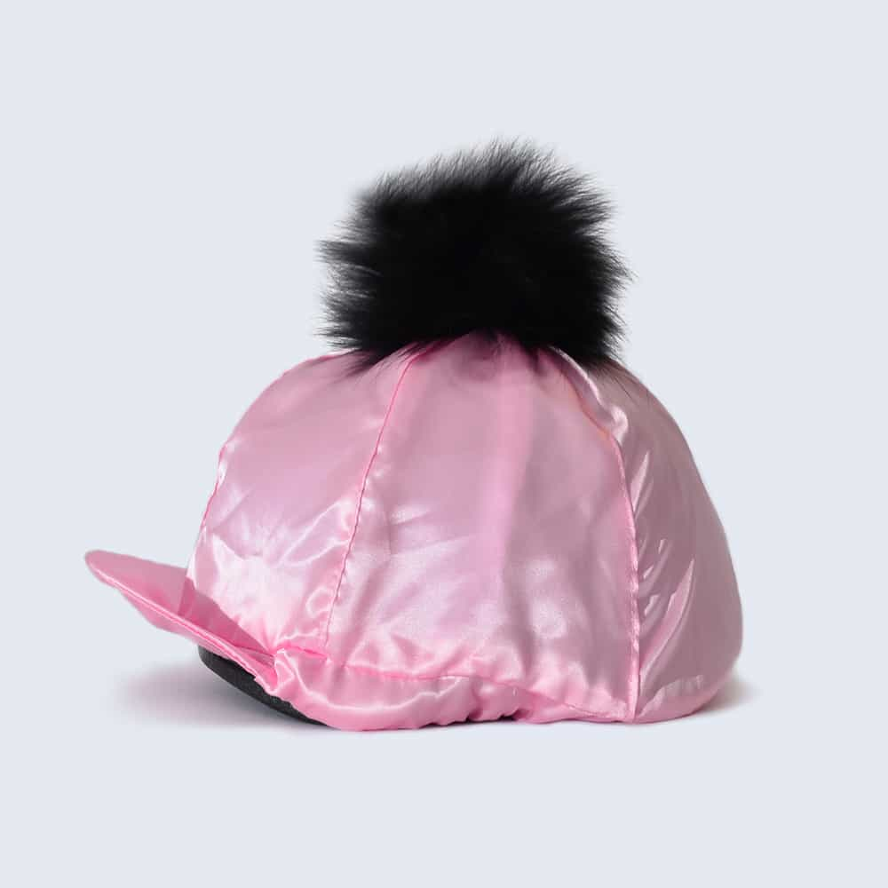 Candy Pink Hat Silk with Black Fur Pom Pom