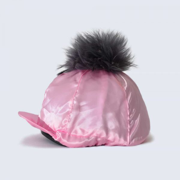 Candy Pink Hat Silk with Grey Fur Pom Pom