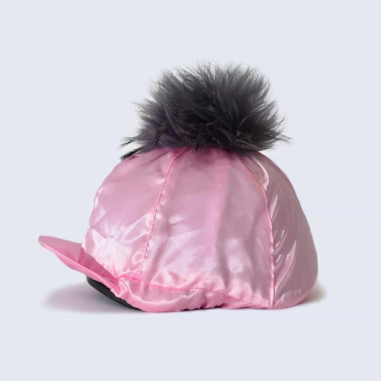 Candy Pink Hat Silk with Grey Fur Pom Pom