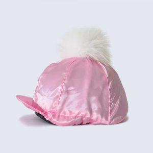 Candy Pink Hat Silk with White Fur Pom Pom
