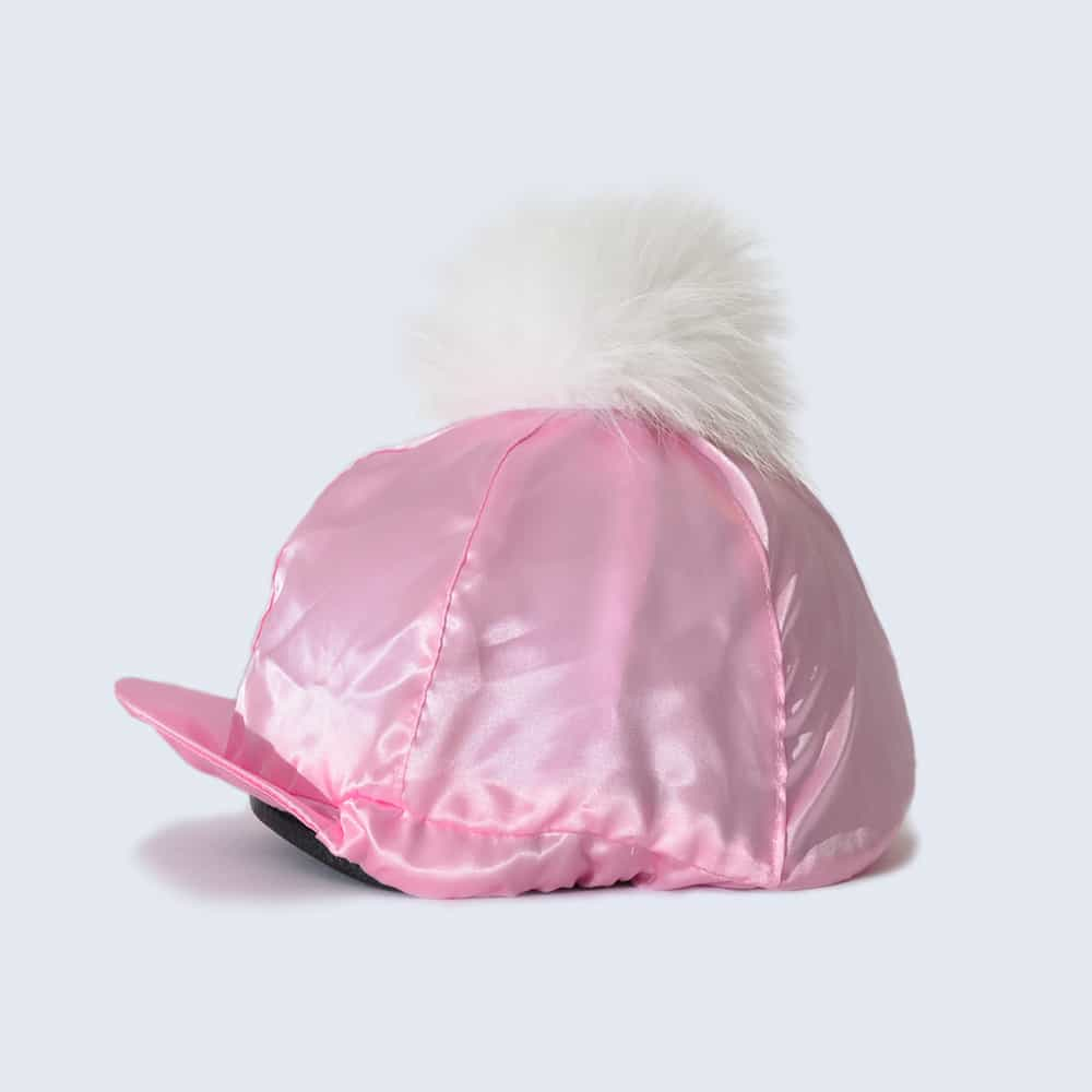 Candy Pink Hat Silk with White Fur Pom Pom