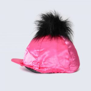 Fuchsia Hat Silk with Black Faux Fur Pom Pom