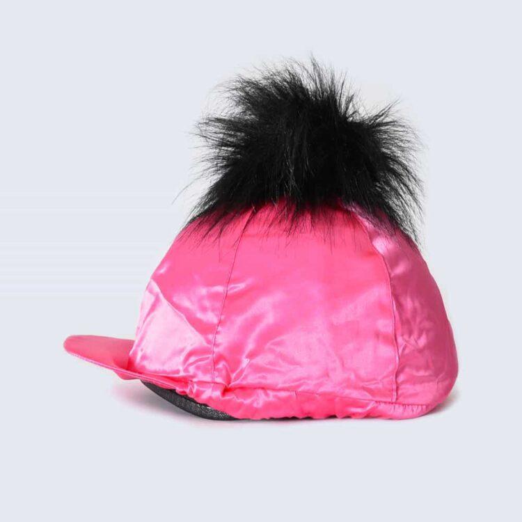 Fuchsia Hat Silk with Black Faux Fur Pom Pom