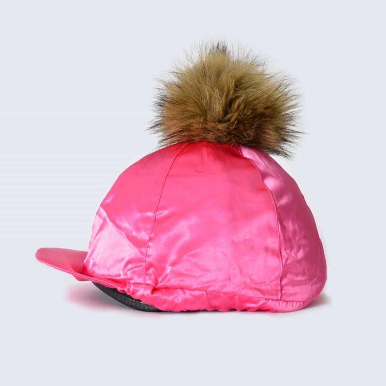 Fuchsia Hat Silk with Brown Faux Fur Pom Pom