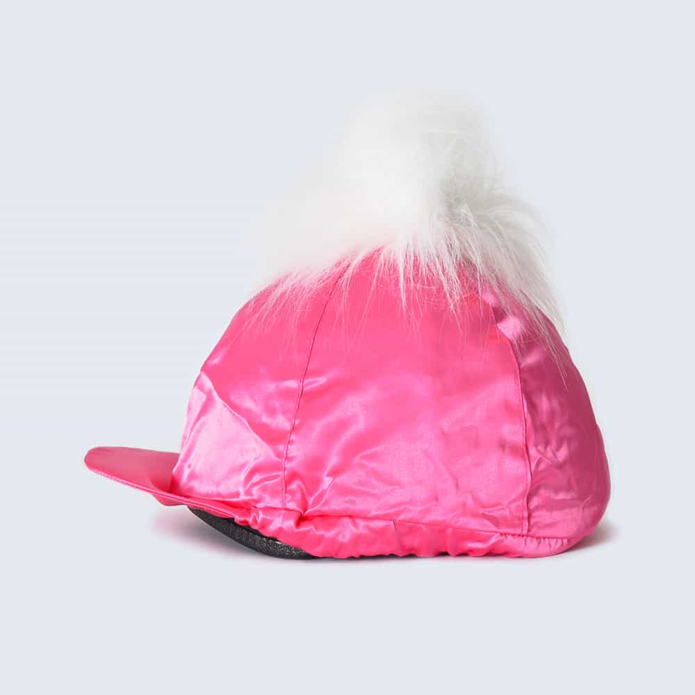 Fuchsia Hat Silk with White Faux Fur Pom Pom