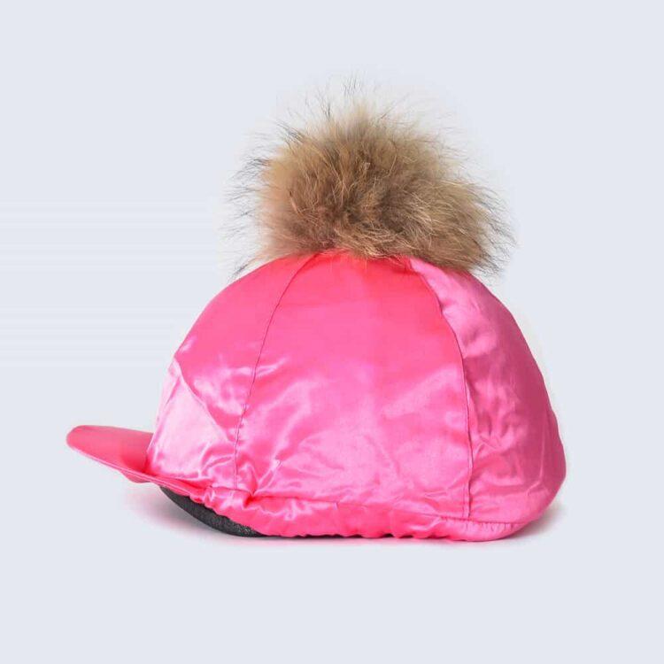 Fuchsia Hat Silk with Brown Fur Pom Pom