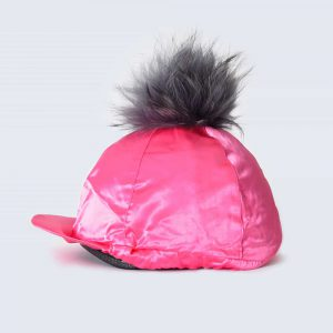 Fuchsia Hat Silk with Grey Fur Pom Pom