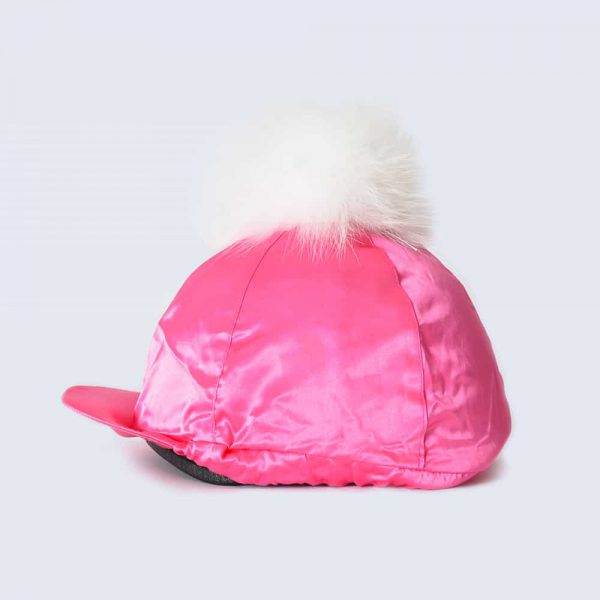 Fuchsia Hat Silk with White Fur Pom Pom