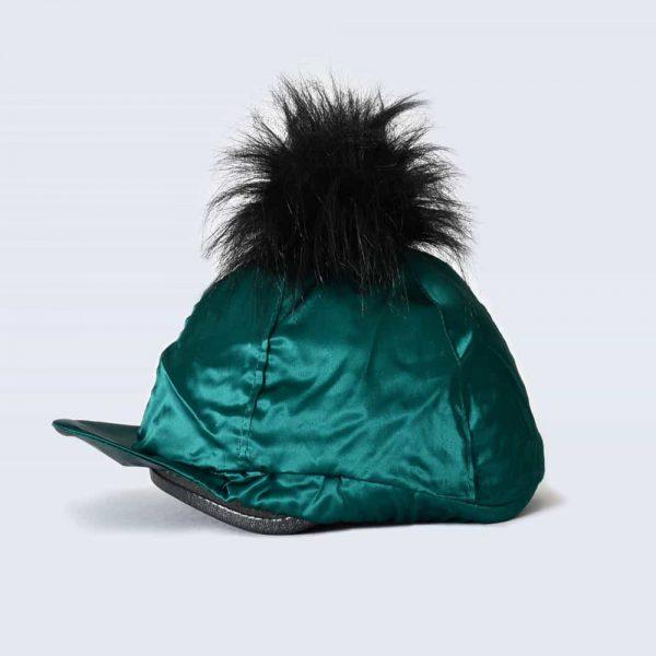 Emerald Hat Silk with Black Faux Fur Pom Pom