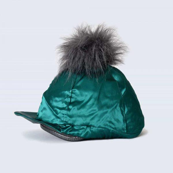 Emerald Hat Silk with Grey Faux Fur Pom Pom