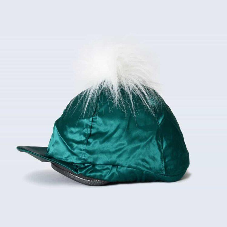 Emerald Hat Silk with White Faux Fur Pom Pom