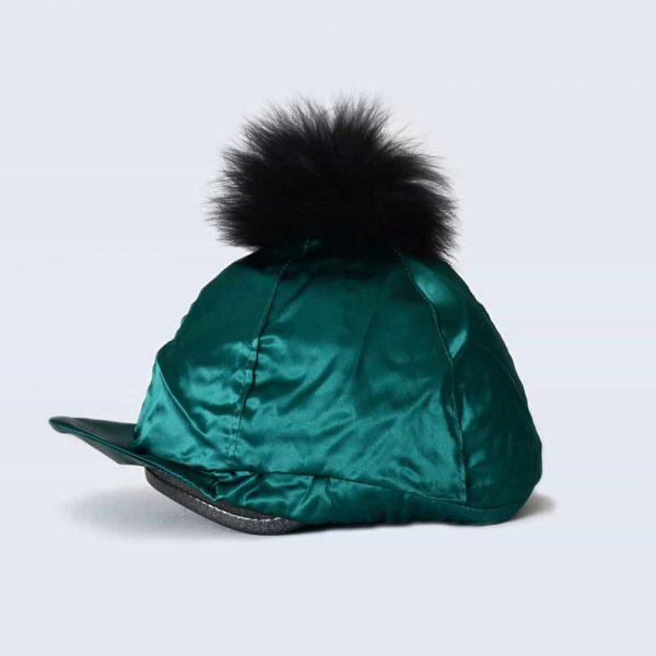 Emerald Hat Silk with Black Fur Pom Pom